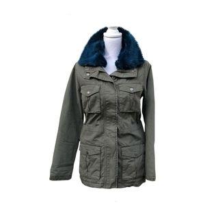 RACHEL Rachel Roy Faux Fur Collar Utility Jacket